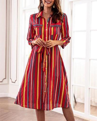 Colorful Striped Turn Down Collar Casual Shift Dresses