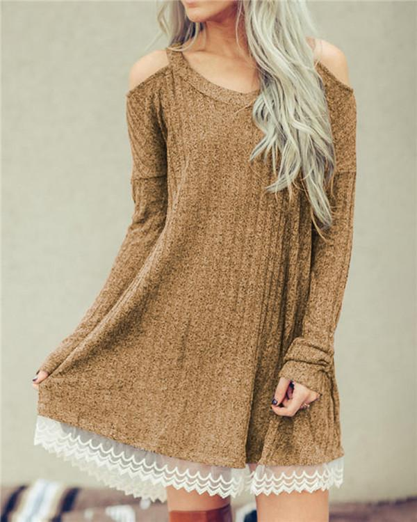 Fall Solid Lace Edge Long Sleeve Women's Mini Dress