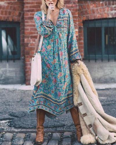 V neck Asymmetrical Women Daytime Elegant 3/4 Sleeve Paneled Floral Plus Size Dress