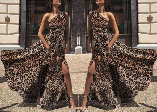 Women's Sexy One Shoulder Leopard Maxi Dress