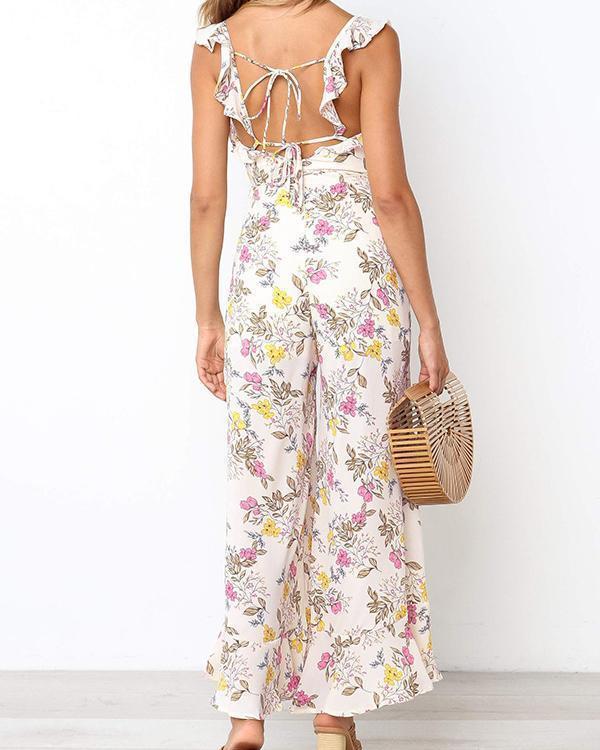 Summer Beach Floral Printed Maxi Jumpsuit