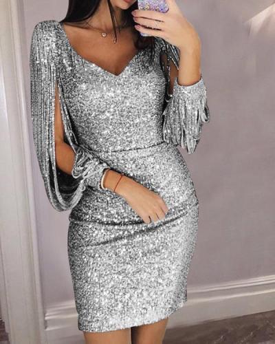 Women Sequined Tassel Long Sleeve V-Neck Party Dress
