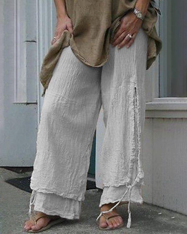 Women Casual Cotton & Linen Solid Color Pants
