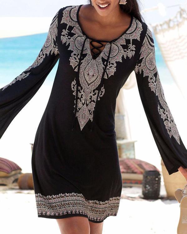 Women V Neck Black Shift Daytime Geometric Dress