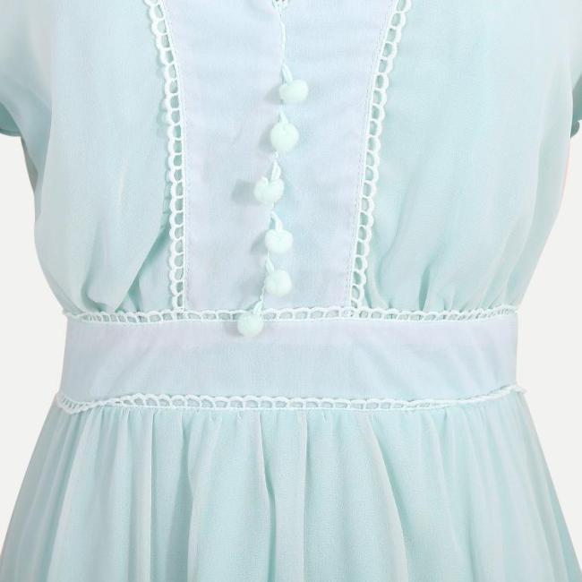 Women V-Neck Elegance Style Long Sleeve Dress