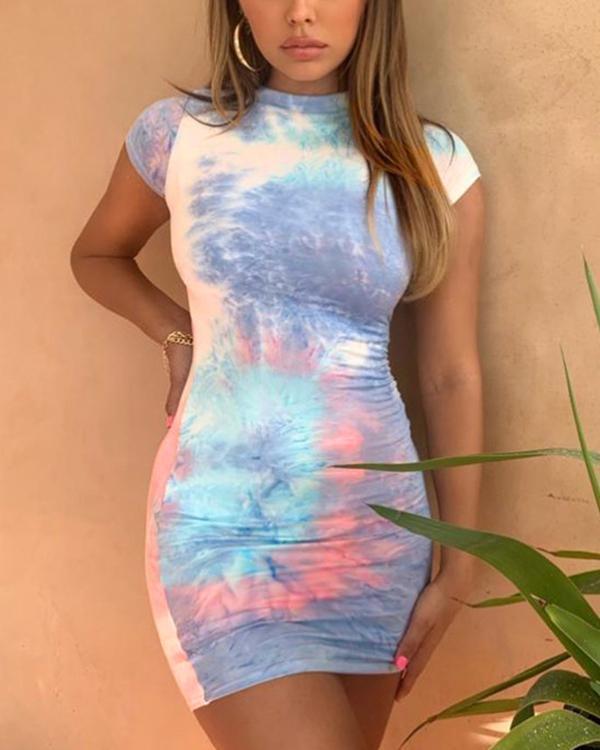 Sexy Tie Dye Print Bodycon Dress