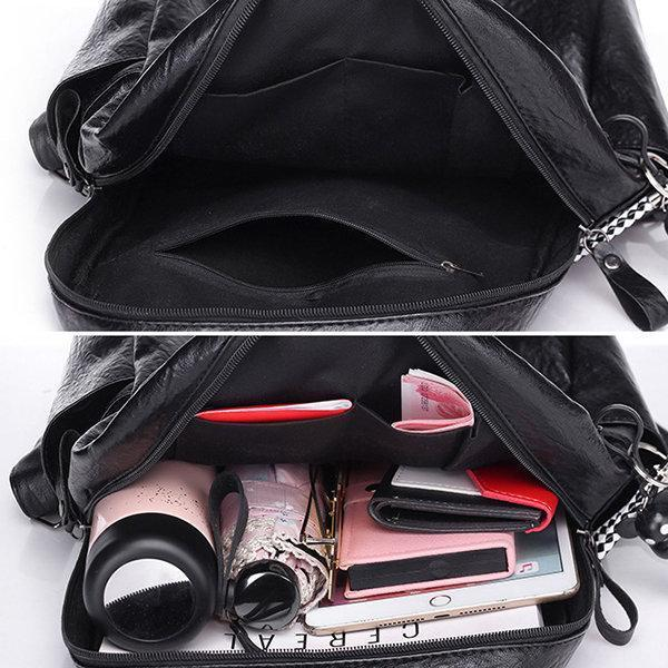 Soft Pu Leather Backpack Travel Large Capacity Shoulder Bag