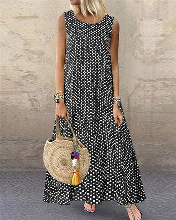 Women's Sleeveless Polka Dots Casual Fashion Daily Maxi Dress