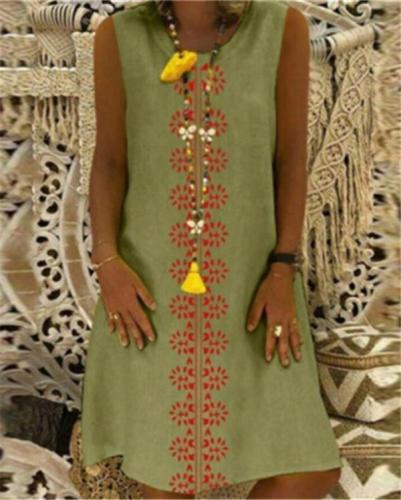 Vintage Round Neck Sleeveless Summer Printed Holiday Chic Dresses