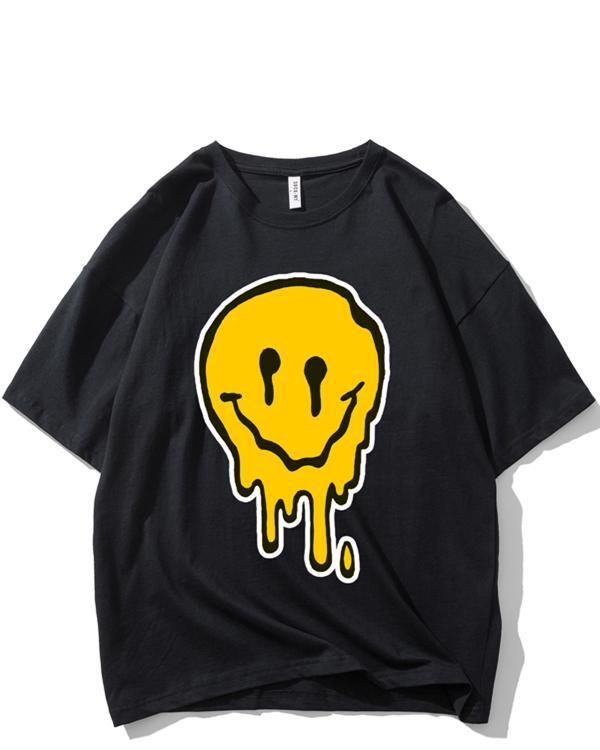 Casual smiley printed short sleeve long T-shirt