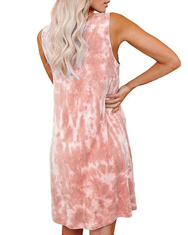 Women's Tie Dye Printed Loose Vest Dress