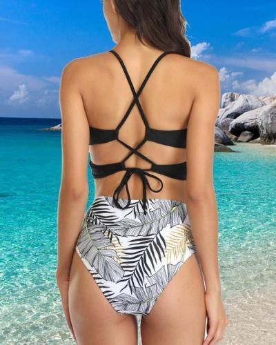 Tie-dye Printed High Waist Bikini