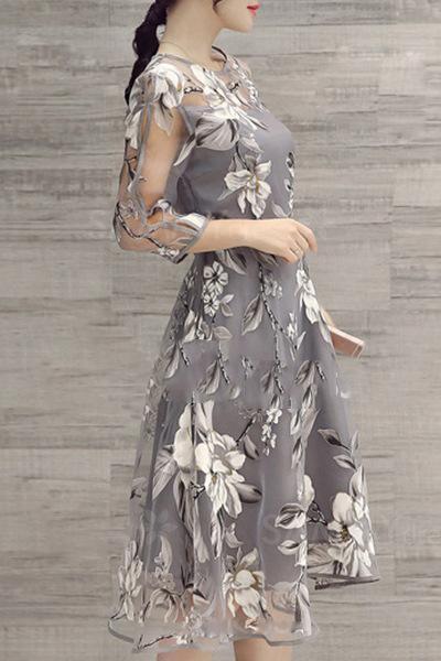 Gray A-line Women 3/4 Sleeve Party Printed Floral Elegant Midi Dress