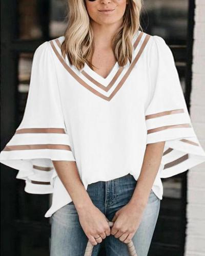 Casual V-neck Bell Sleeves Paneled Hollow Out Chiffon Blouse