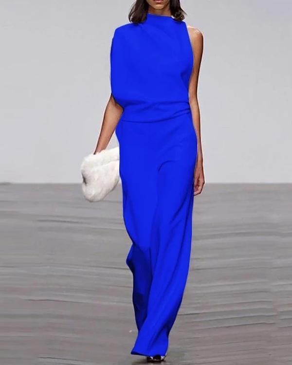 Women's Commuting Asymmetry Sleeve Pure Colour Jumpsuit