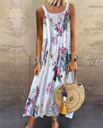 Floral Printed Sleeveless Spaghetti Summer Holiday Daily Fashion Maxi Dresses