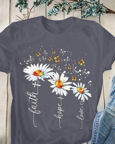 Women Short Sleeves Round Collar Printed T-shirt
