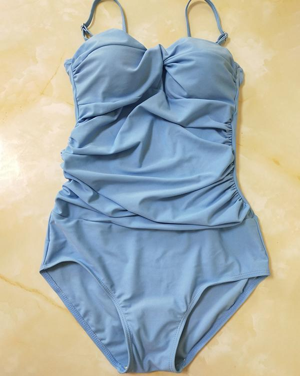 Women's Casual Sling Solid Color One Piece Swimsuit