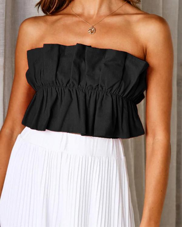 Female Crop Top Off Shoulder Sexy Wrapped Chest Blouse