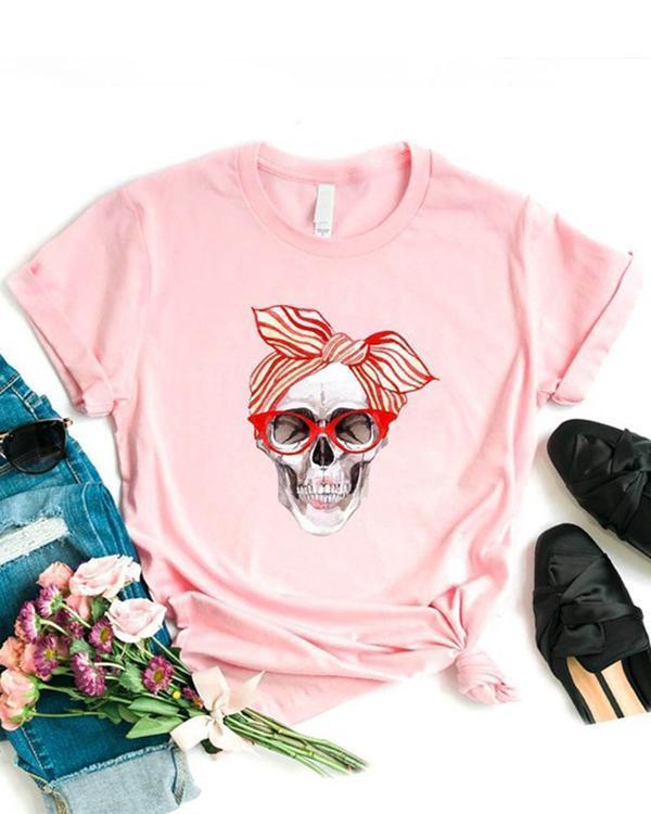 Women's Skull Print Women's Cotton T-Shirt