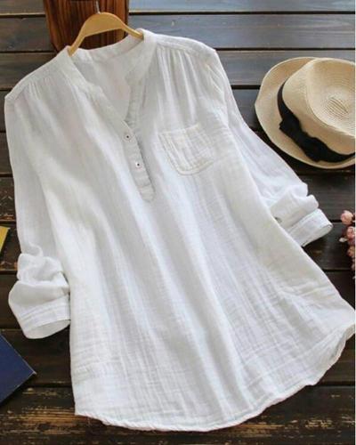 Women Cotton solid Blouse Wild long sleeve Plus Size Shirt