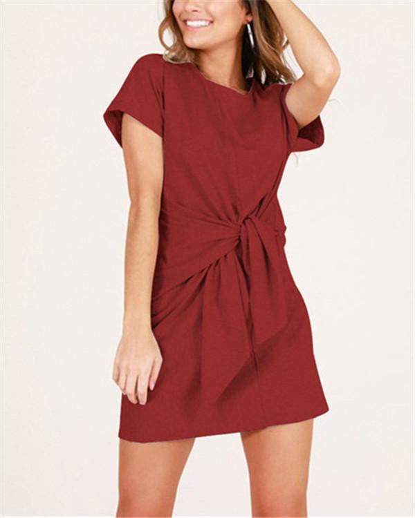 Women's Elegant Solid  Short Sleeve Round Neck Mini Dress