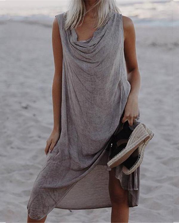 Women Sleeveless Round Neck Irregular Plus Size Dress