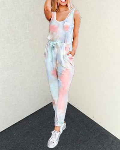 Chic Tie-dye Printed SleevelessTop And Lounge Pants Set