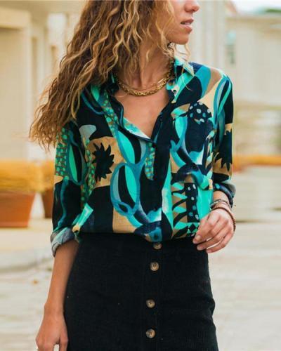 Women Fashion Lapel Long Sleeve Printed Chiffon Plus Size Blouses Tops