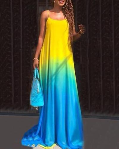 Gradient Color Sleeveless Summer Maxi Dress
