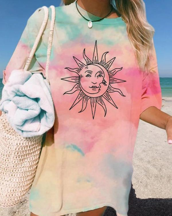 Casual Fashion Sun Print Tie-dye Basic T-Shirts