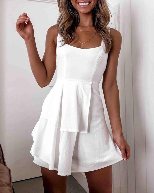 Girls Lace-up Ruffled Sleeveless Backless Sundress Tank Mini Dresses