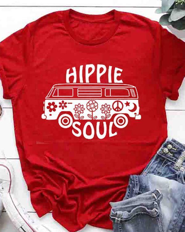Hippie Soul Fashion Tshirt Causal Letter Printed Women Tshirt Large Size Summer Tee Tops