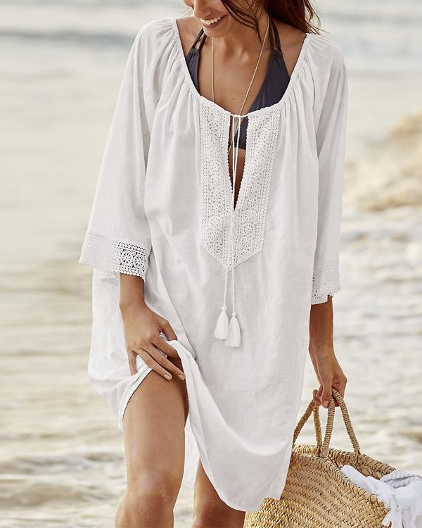 Loose Bikini Swimsuit Long Sleeve Sunscreen Beach Dresses