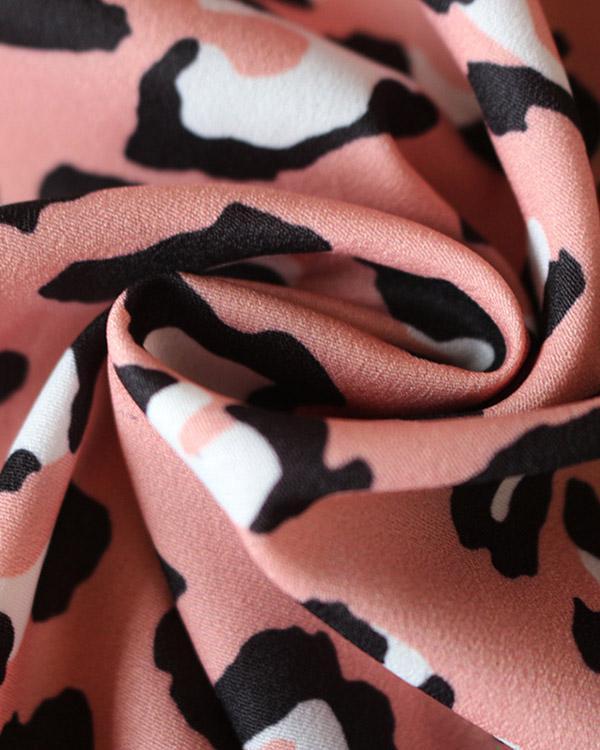 Chiffon Leopard Printed V-neck High Waist Lace-up Dress