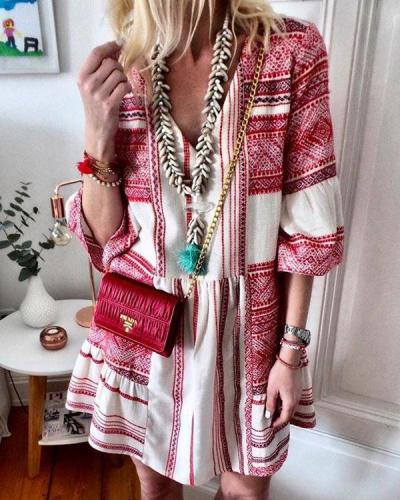 V-Neck 3/4 Sleeve Print Vacation Mini Dress