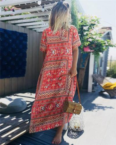 Crew Neck Short Sleeve Folk Printed Maxi Dress