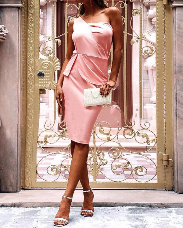 Sexy One Shoulder Sleeveless Skinny Midi Dress
