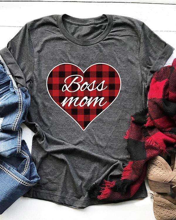 Plaid Printed Heart Boss Mom T-Shirt Tee