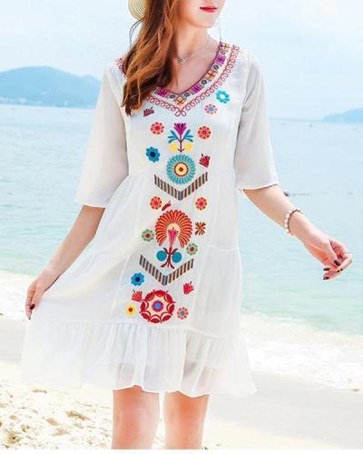 Women V Neck White Shift Daily Printed Floral Chiffon Plus Size Dress