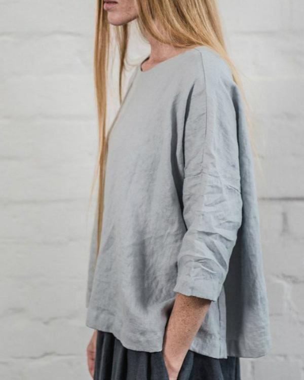 Casual Half Sleeve Solid Color Loose T-Shirts Top