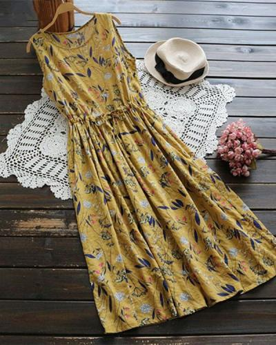 Random Floral Print Sleeveless Maxi Dress