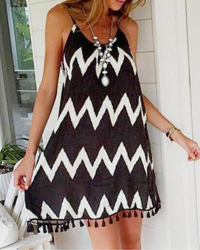 Women Wave Beach Tassel Open Back Plus Size Dress