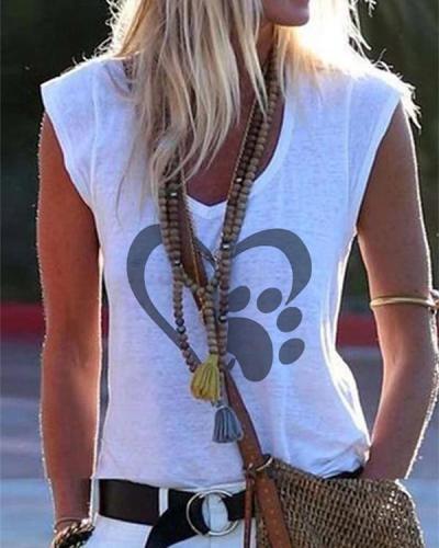 Graphic Print Paneled V-neck Sleeveless Casual T-shirt
