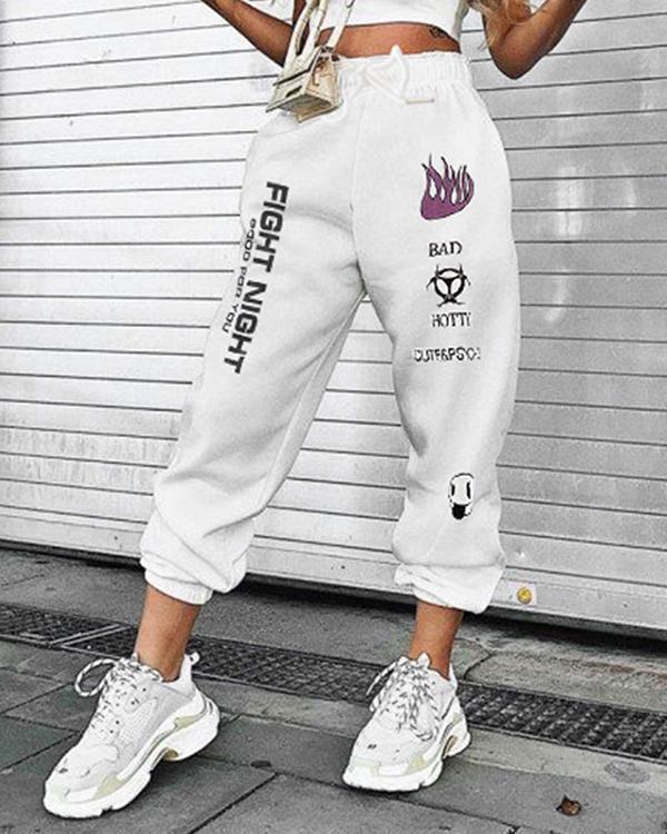 High Rise Lace Up Lettering Graffiti Print Sweatpants