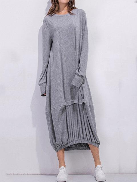 Cocoon Women Daily Cotton Long Sleeve Casual Paneled Plain Fall Dress