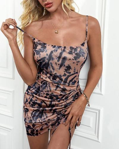 Sexy Animal Print Ruched Cami Dress