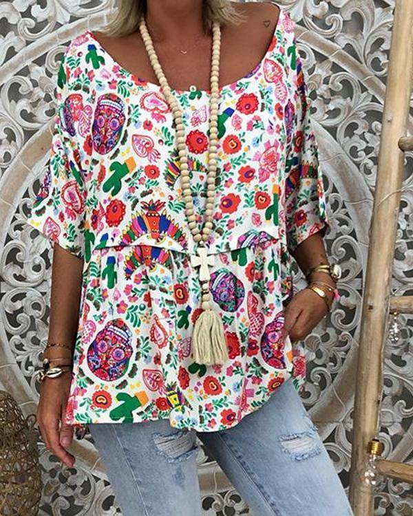 Women Plus Size Floral Printed 3/4 Sleeve Plus Size Blouses Tops