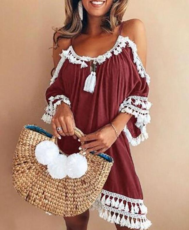 A-line Women Date Elegant Cold Shoulder Solid Summer Fall Dress