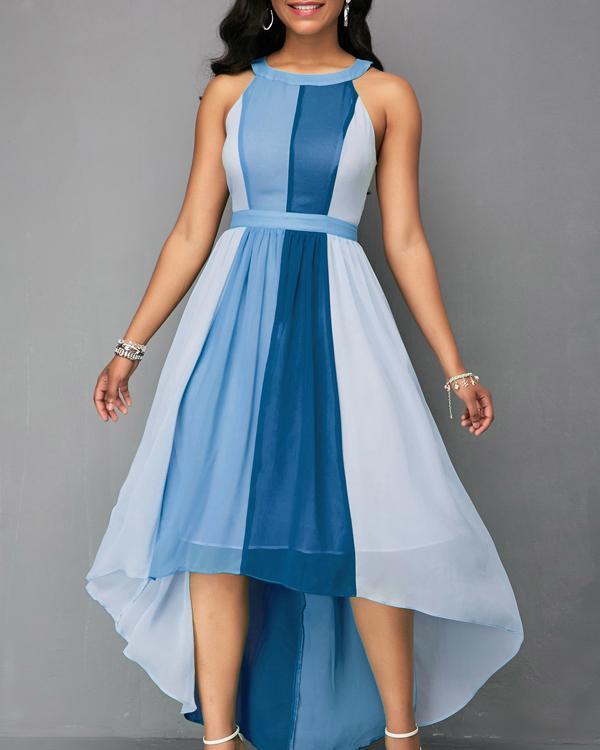 Women's Halter Neck Sleeveless Contrast Color A Maxi Dress